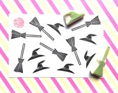 halloween rubber stamps | witch hat | broom stick | holiday scrapbooking | tag card making | hand carved stamp by talktothesun | set of 2