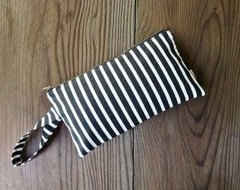Black and White Striped Wristlet Clutch