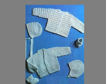 Baby Crochet Pattern / Cardigans, Booties, Bonnet / Two Styles Baby Cardigans / 4ply Yarn /PDF instant download / Post Free Crochet Pattern