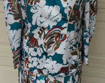 Jewel Toned Paisleys on Teal White Damask Dress Suit Women 18