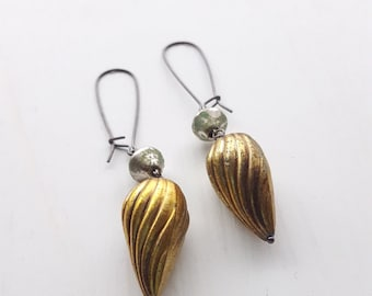 salvage earrings - vintage lucite and sterling