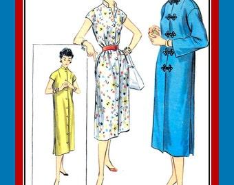 Vintage 1955-Elegant Asian Style Duster Coat-Dress-Sewing Pattern-Mandarin Collar-Frog Closures-Loose Easy Fit-Belt Option-Size 14-Rare