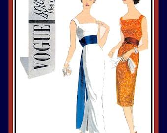 Vintage 1959-GLAMOROUS EVENING WEAR-Vogue Special Design-Sewing Pattern-Empire Waist-Floor Length Obi Sash-Low Square Neckline-Size 12-Rare