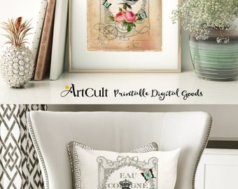 Two Printable Images SHABBY ELEGANCE No7 Digital Sheets Vintage Ephemera paper for Iron On Transfer, tote bags t-shirts pillows DIY craft
