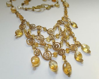 Citrine and Brass Necklace - yellow transparent natural citrine and natural brass wire