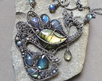 Labradorite Bird of Paradise Necklace - Labradorite and Dark Sterling Silver