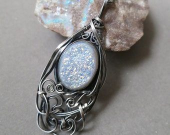 Druzy and Dark Sterling Silver Pendant Wire Wrapped -  Rainbow Snow