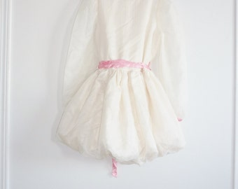 Vintage Cream Bubble-Hem Girl's Dress