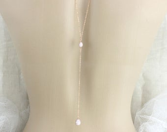 Dainty Backdrop necklace, Rose gold Back drop necklace, Bridal jewelry, Bridal backdrop necklace, Simple back necklace, Sterling silver