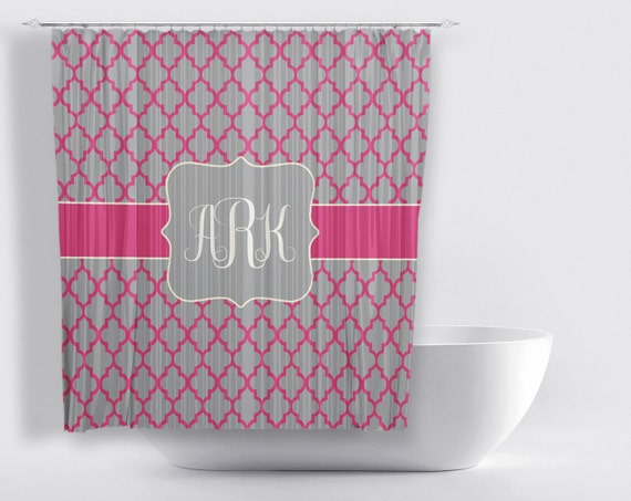 Items similar to pink grey monogram shower curtain for for Pink and gray bathroom sets