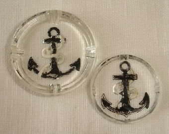 Vintage Clear Glass Buttons with Black painted Anchor - Mother and daughter Buttons
