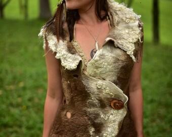Felt Seamless Vest-Natural Vest-Wool Top-Tribal Vest-Woodland Clothing-Festival Wear-Felt High Collar Vest-Pixie Vest-Woodland Clothing OOAK