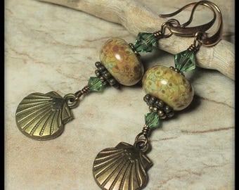 Handmade, Jewelry, Earrings, Beaded, Lampwork, Crystal, Antique Brass, Seafoam, Green, Artisan, Lampwork Earrings, Beach, Seashell, Shell
