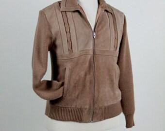 Men's Jacket, Sweater Jacket, Suede Knit Jacket, Hipster Jacket, Bronzini Genuine Leather, 70s Men's Vintage Clothing, Zipper Front, Size 40