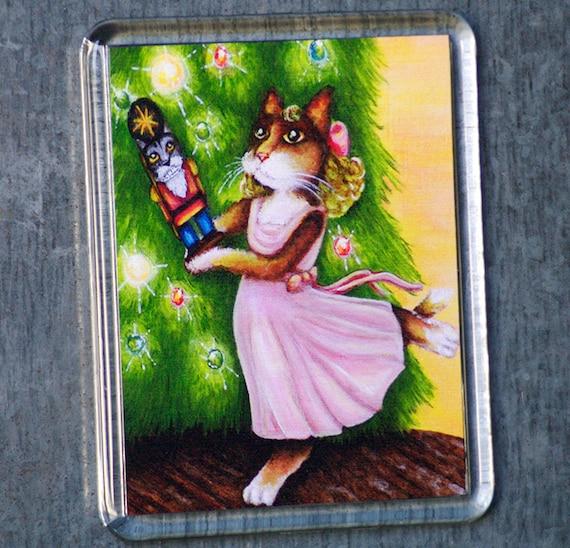 Calico Cat Magnet, Clara Nutcracker, Christmas Holiday Fridge Magnet