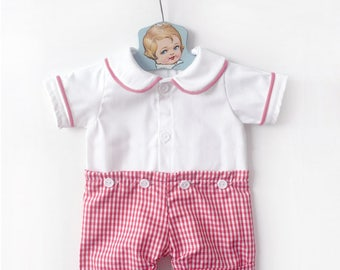 Red and White Gingham Peter Pan Collar Shorts Romper, Baby Easter Outfit, Boys Easter Outfit, Toddler Romper, Baby Playsuit, Baby Sunsuit