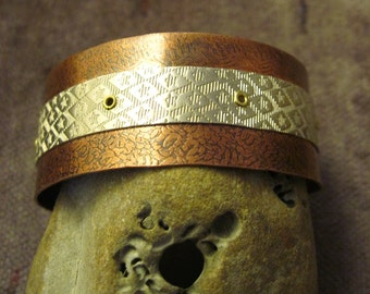 Mixed metal German silver and copper tribal cuff for small wrist