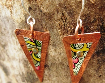 Recycled vintage tin and copper mixed metal dangle boho tribal gypsy earrings