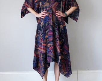70s silk kimono sleeve printed dress (xs - s)