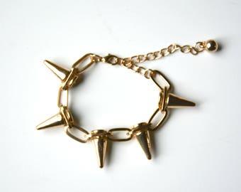 spike bracelet, stacking bracelet, stackable bracelet, gold spike bangle, spike chain bracelet, gifts under 10, arm candy, punk bracelet
