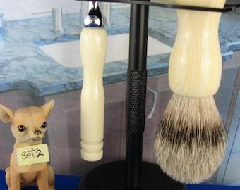Wet Shaving, Double Edge Razor, Silvertip Badger, Satin Black Stand,Tru-Stone Banded Ivory, Shave Bowl, Soaps, Personalized Engraving, Set 2
