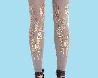 Printed leggings, Galaxy gray leggings, hand made. available in one size, girlfriend gift