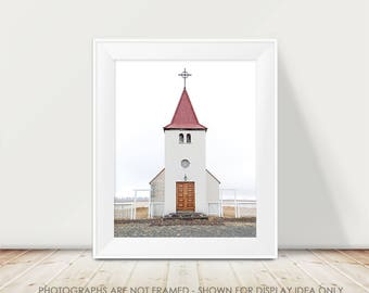 Iceland Church, Church Photograph, Chapel, Iceland Photography, Winter, Nordic, Architecture, Travel, Wanderlust, Minimalist, Modern Art
