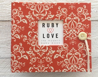 MOD Orange Damask | BABY BOOK