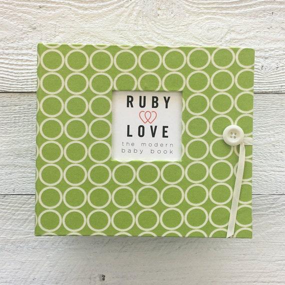 BABY BOOK | Lime Green MOD Circles Album - Baby Memory Book