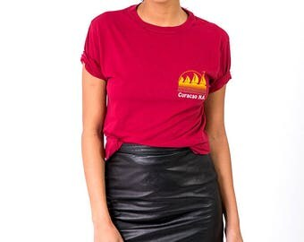 The Vintage Maroon Red 50/50 Combed Curacao Caribbean Crewneck Tee Tshirt
