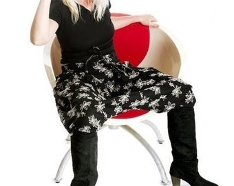 "harem pants black embroided short woman ""black swan"" sarouel woman"