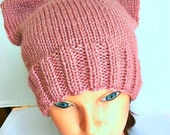 Cat Hat Kitty Cat Cap Rose Pink Adult Teen Womens March on Washington READY TO SHIP Pussy Hat Project hand knit hat knitting