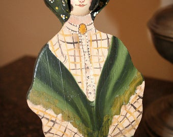 """Folk Art Bonnet Lady, Painted Wood Plaque, Wood Wall Hanging, 3-D Bonnet, Country Woman Plaque, Green Dress Lady, 12"""" Painted Lady"""