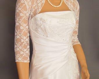 Lace bolero jacket wedding shrug 3/4 sleeve bridal wrap  LBA301 AVAILABLE in white and 4 other colors