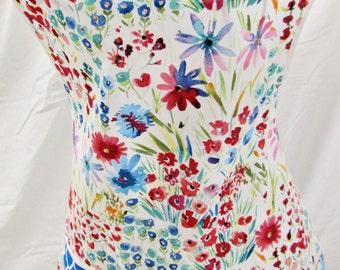 Floral Apron Full Flower retro vintage blue pink red pink 1950s