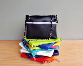 Black Vegan Purse, Choose Your Bright Bold Colors, Faux Leather Handbag with Silver Chain Strap, Custom Vinyl Crossbody Bag, Made in the USA