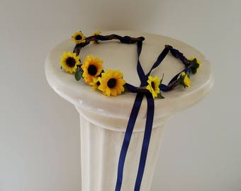 Flower girl Sunflower halo navy blue country Wedding hair wreath accessories rustic Bridal party flower crown mini sunflowers summer circlet