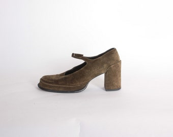 Vintage 90s MARY JANES / 1990s Chunky Olive Green Suede Robert Clergerie Espace Strappy Block Heels 7