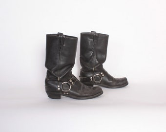 Vintage 80s ENGINEER BOOTS / 1980s Black Leather Women's Motorcycle Moto Boots 10