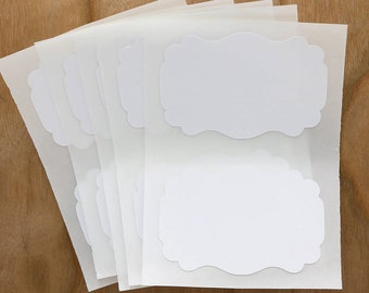 Cotton White Labels Stickers Rectangle Flourish