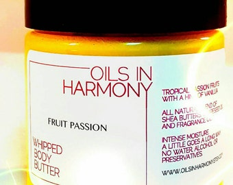 Shea Butter - Whipped Body Butter - 4 oz Jar  FRUIT PASSION (Tropical Fruit)