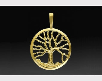 Small Tree of life pendant handmade in 14k gold