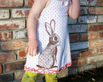 Bunny polka dot dress - upcycled, screenprinted, white with red polka dotted tshirt tank dress - size 24 months, one of a kind