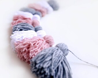 Yarn Tassel Garland - banner - Blushing Baby - Grey White Blush Pink Nursery Decor