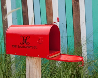Mailbox Number with Monogram Vinyl Decal - Address Decal - Address Sign - House Number Decal - Decals - Mailbox