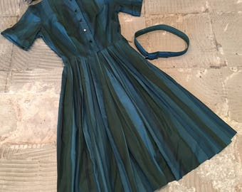 1950s 1960s Day Dress - Teal Olive Green Stripe - Shirtwaist Style - Lois Young - Striped Day Dress - Housewife - Petticoat Option - 35 Bust