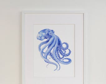 Blue Octopus Watercolor Art Print in a Mount Kit Ready to Frame Surf Shack Style Decor Beach House Art