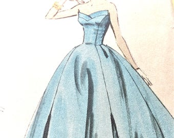 Vogue S-4724 Uncut Rare 1950s Evening Gown One-Piece Dress and Jacket  Vintage Sewing Pattern  Bust 34