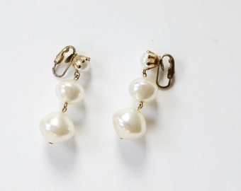 Clip on Vintage Faux Pearl Drop Earrings