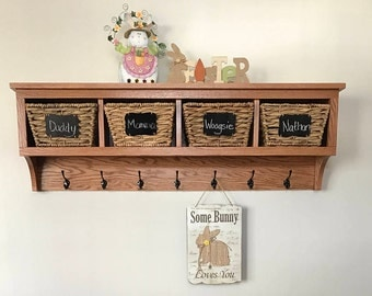 "4 Cubby Oak Coat Rack Wall Hanging 48"" Wide"
